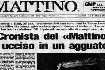 Prima pagina de Il Mattino di Napoli all'indomani dell'uccisione di Giancarlo Siani
